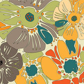 Art vintage floral green and yellow background — Stock Vector