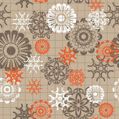 Art vintage floral seamless pattern on brown background — Stock Vector