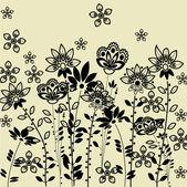 Kunst floral tekening grafische achtergrond met ruimte voor tekst — Stockvector