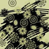 Umění květinové, grafické pozadí výkresu — Stock vektor