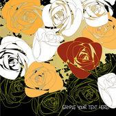 Sztuka tło kwiatowy róż graficzny i miejsca na tekst — Wektor stockowy