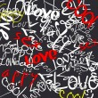 Art urban graffiti vector background with words dance, style and music — Stok Vektör