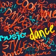 Art urban graffiti vector background with words dance, style and music — Stock Vector
