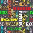 Art seamless vector pattern background with town Moscow, Paris, Berlin, Madrid, Tokyo — Stock vektor