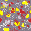 Art seamless hearts background — Stok Vektör