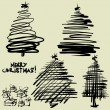 Art sketching set of vector christmas tree symbols — Stock Vector
