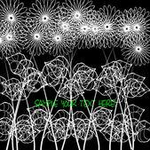 Art vintage white floral pattern on black background for holidays — Stock Vector