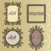 Art set vintage vector frames on pattern background — Stock Vector