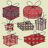 Art holiday gift boxes vector — Stock Vector
