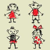 Art sketching set of vector children symbols — Stock Vector