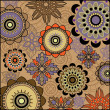Art vintage geometric stylization floral pattern on brown background — Stock Vector