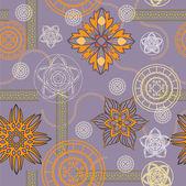 Sztuka bez szwu vintage ozdobnych kwiatowy wzór — Wektor stockowy