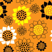 Art stylization sunflowers seamless vintage pattern — Stock Vector