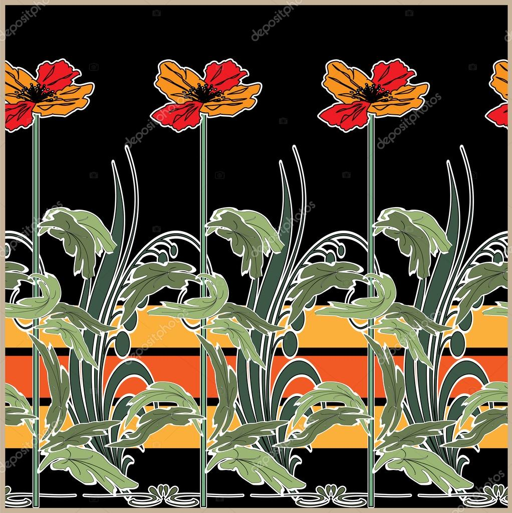 Art deco seamless pattern with stylization flowers stock for Art deco flowers