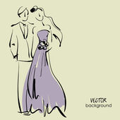 Art sketching of beautiful young bride and groom in dance. — Vector de stock