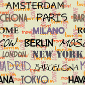 Art seamless vector pattern background with the names of the city — Stock Vector