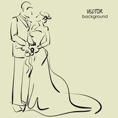 Arte croqui da bela jovem noiva e do noivo com o buquê da noiva. de fundo vector esboçado com espaço para texto. versão raster também está na minha galeria. — Vetor de Stock