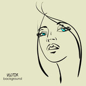 アート美しい少女の顔シンボル ベクトルをスケッチ — ストックベクタ