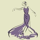 Art sketching of beautiful young bride in dance. Sketchy vector with space for text. — Stock Vector