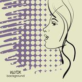 Arte esboçar vector símbolos de rosto de menina bonita com espaço para texto — Vetor de Stock