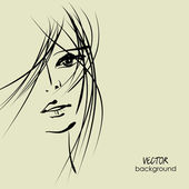 Art sketching vector beautiful melancholy girl face symbols — Stock Vector
