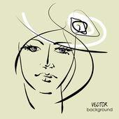 художественный эскиз векторный красивая молодая женщина лицо символы — Cтоковый вектор