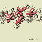 Art sketching floral vector background — Stock Vector