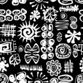 Arte vectorial de patrones sin fisuras, vintage, incas estilizado fondo en colores blanco y negro — Vector de stock
