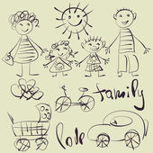 Art sketching set of vector family and children symbols — Stock Vector