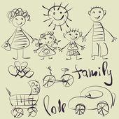 Arte de esboçar o conjunto de símbolos vetoriais, família e crianças — Vetorial Stock