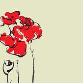 Art sketching poppies vector background — Stock Vector
