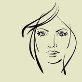 Art sketching vector girl face symbols — Stock Vector