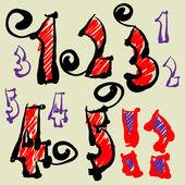 Sanat vektör yazı tipini simgeler kümesi çizimi — Stok Vektör