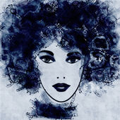 Art sketched beautiful girl face — Stock Photo