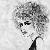 Art sketched beautiful girl face with curly hair and in profile — Photo