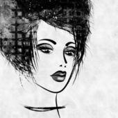 丰富多彩的艺术速写在配置文件中的美丽的女孩脸 — 图库照片