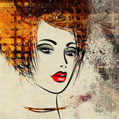Art colorful sketched beautiful girl face in profile — Stock Photo