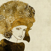 Art golden sketched beautiful girl face in profile — Stock Photo