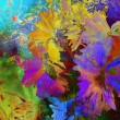 Stock Photo: Art floral vintage rainbow background with bright color asters