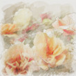 Stock Photo: Art floral vintage watercolor background