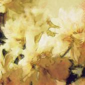 Art vintage floral sepia blurred background with white asters — Stock Photo