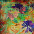 Stock Photo: Art grunge floral vintage background in rainbow colors