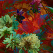 Stock Photo: Art grunge floral vintage rainbow background