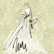 Stock Photo: Art sketch of beautiful young bride with bride's bouquet