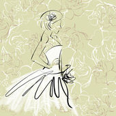Art sketch of beautiful young bride with the bride's bouquet — Stock Photo