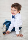 Little boy with ship — Stock Photo