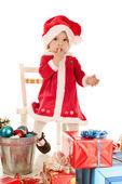 Förvånad över santa flicka — Stockfoto