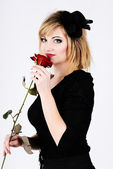 Lady with rose — Stock Photo
