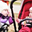 Two strollers friends — Stock Photo