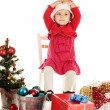 Surprised santa girl — Stock Photo